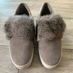 MK grey suede fur sneakers slip on...